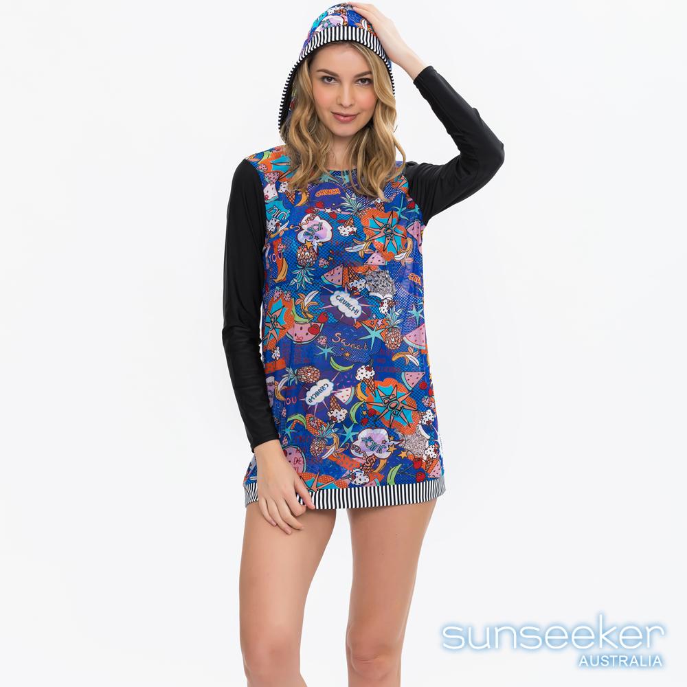 澳洲Sunseeker泳裝時尚運動風塗鴉長袖連帽網紗罩衫