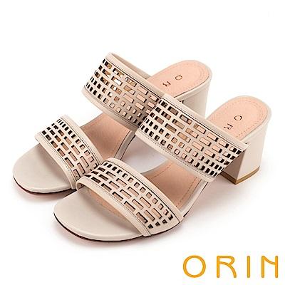 ORIN 夏日異國渡假 幾何簍空牛皮粗高跟涼拖鞋-粉膚