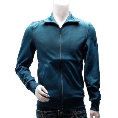 Y-3  adidas山本耀司經典LOGO素面純棉立領外套(藍)