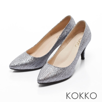 KOKKO-星燦花紋迷魅尖頭高跟鞋-銀河