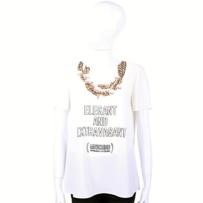 MOSCHINO 白色項鍊圖案設計短袖上衣