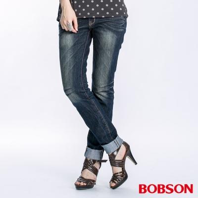 BOBSON 女款亮片小直筒牛仔褲(深藍52)