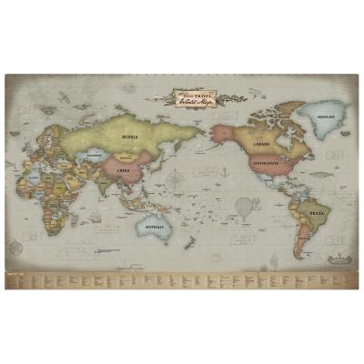 Indimap 環遊世界世界地圖海報(改版-雙層)-03復古版