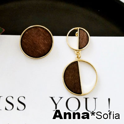 AnnaSofia 半圓木質設計款 不對稱耳針耳環(咖金系)