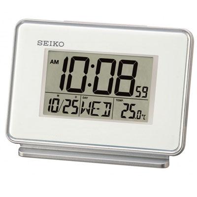 SEIKO 雙鬧鐘 溫度 日期顯示 電子鍾 QHL068W ~白 9x12.7cm