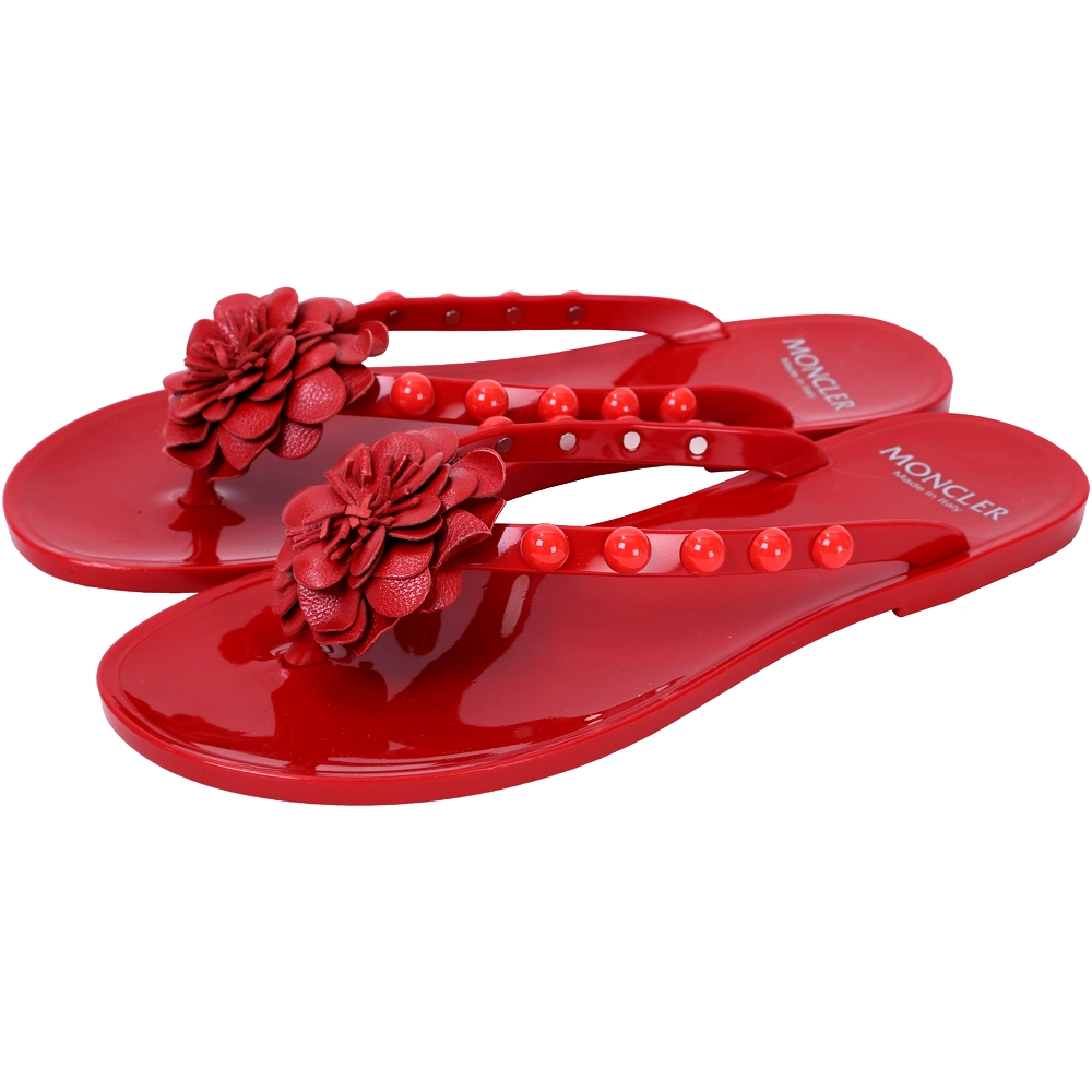 MONCLER NEW LYDIE 花朵鉚釘飾PVC夾腳拖鞋(紅色)
