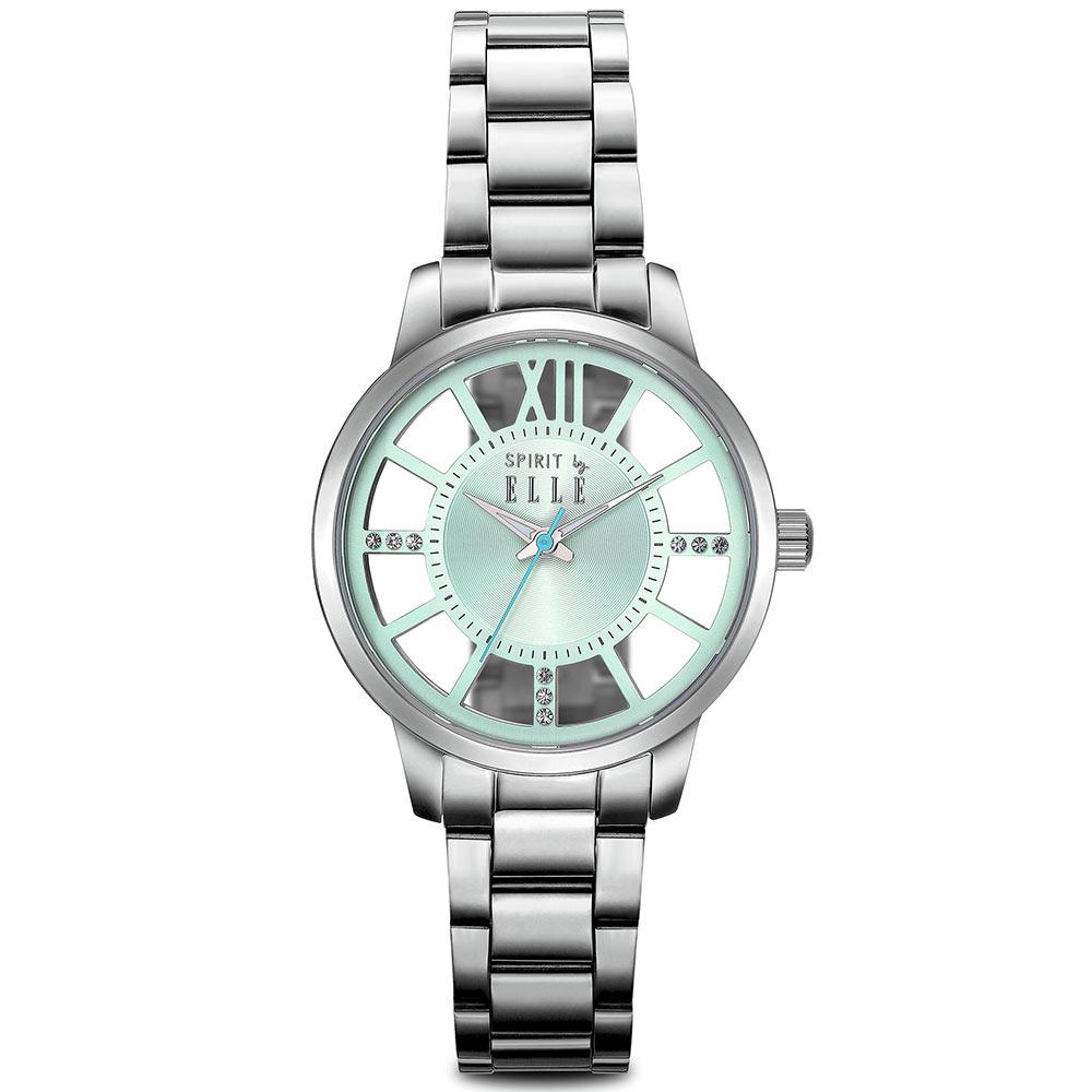 ELLE 獨特鏤空錶盤不鏽鋼時尚腕錶-綠/36mm