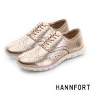 HANNFORT ZERO GRAVITY珠光真皮牛津氣墊鞋-女-玫瑰金