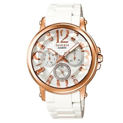 SHEEN 經典鑽石切面奢華施華洛世奇腕錶(SHE-3035-7A)-玫瑰金x白/38.4mm