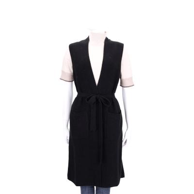 Max Mara 黑色開襟羊毛背心外套(80%WOOL)