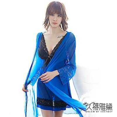 性感睡衣 藍色玫瑰典雅蕾絲柔紗三件式睡衣組 久慕雅黛