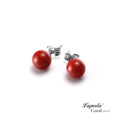 大東山珠寶 天然全紅沙丁珊瑚5-5.5mm針式貼耳耳環