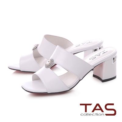 TAS水鑽圓飾鏤空方頭粗跟涼拖鞋-時尚白