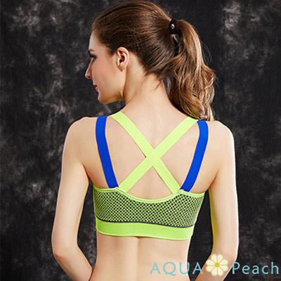 運動內衣 網格印花撞色X型美背內衣 (共二色)-AQUA Peach
