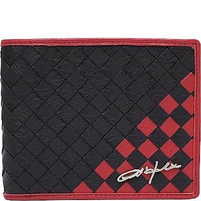 OBHOLIC 黑色紅色編織義大利牛皮 短夾 皮夾 錢包