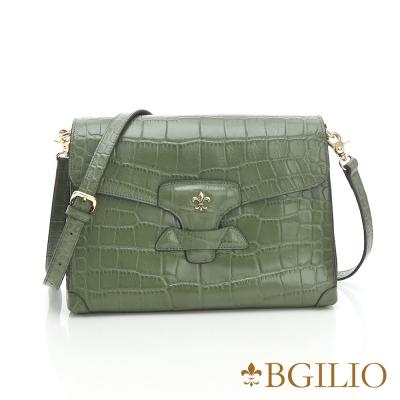 義大利BGilio -牛皮鱷魚紋斜/肩背包- 綠色 1566.001-08