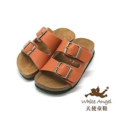天使童鞋-J838 悠閒馬德里親子拖鞋(中-大童)-咖啡