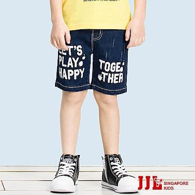 JJLKIDS 率性英字舒適牛仔五分褲(牛仔藍)