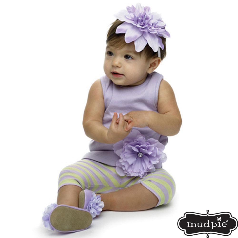 Mud Pie 小女童紫色大花上衣內搭褲套裝組
