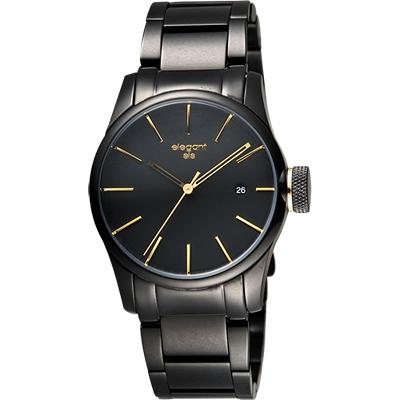 elegantsis JT41 都會流行腕錶-黑金/36mm