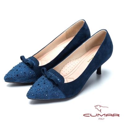 CUMAR閃耀夜宴-蕾絲水鑽尖頭高跟鞋-藍