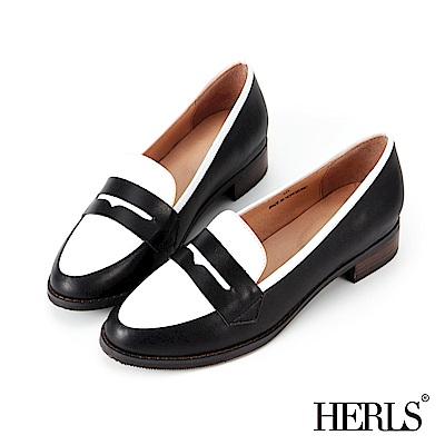 HERLS-全真皮-典雅配色滾邊樂福鞋-黑X白