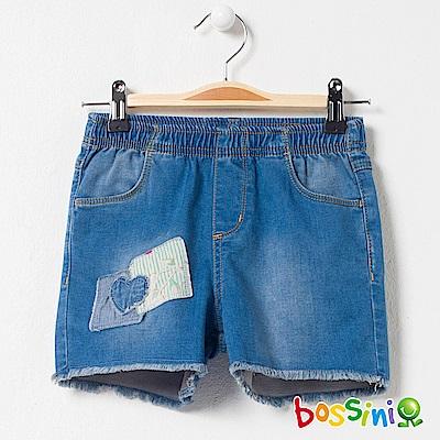 bossini女童-牛仔休閒短褲01靛藍