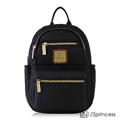 1/2princess防潑水尼龍五度空間2way側胸包後背包-黑色[A2740](快)