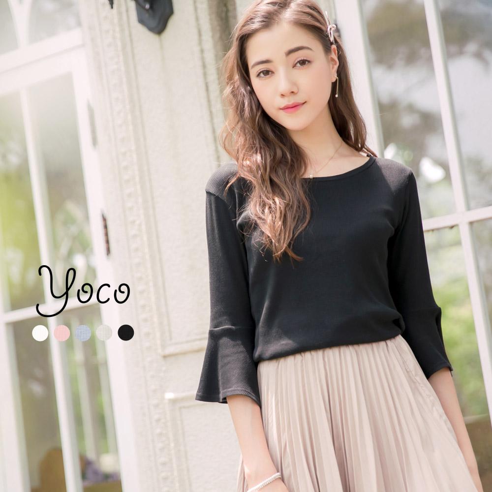 東京著衣-yoco 簡約自然羅紋傘袖上衣-S.M.L(共五色)