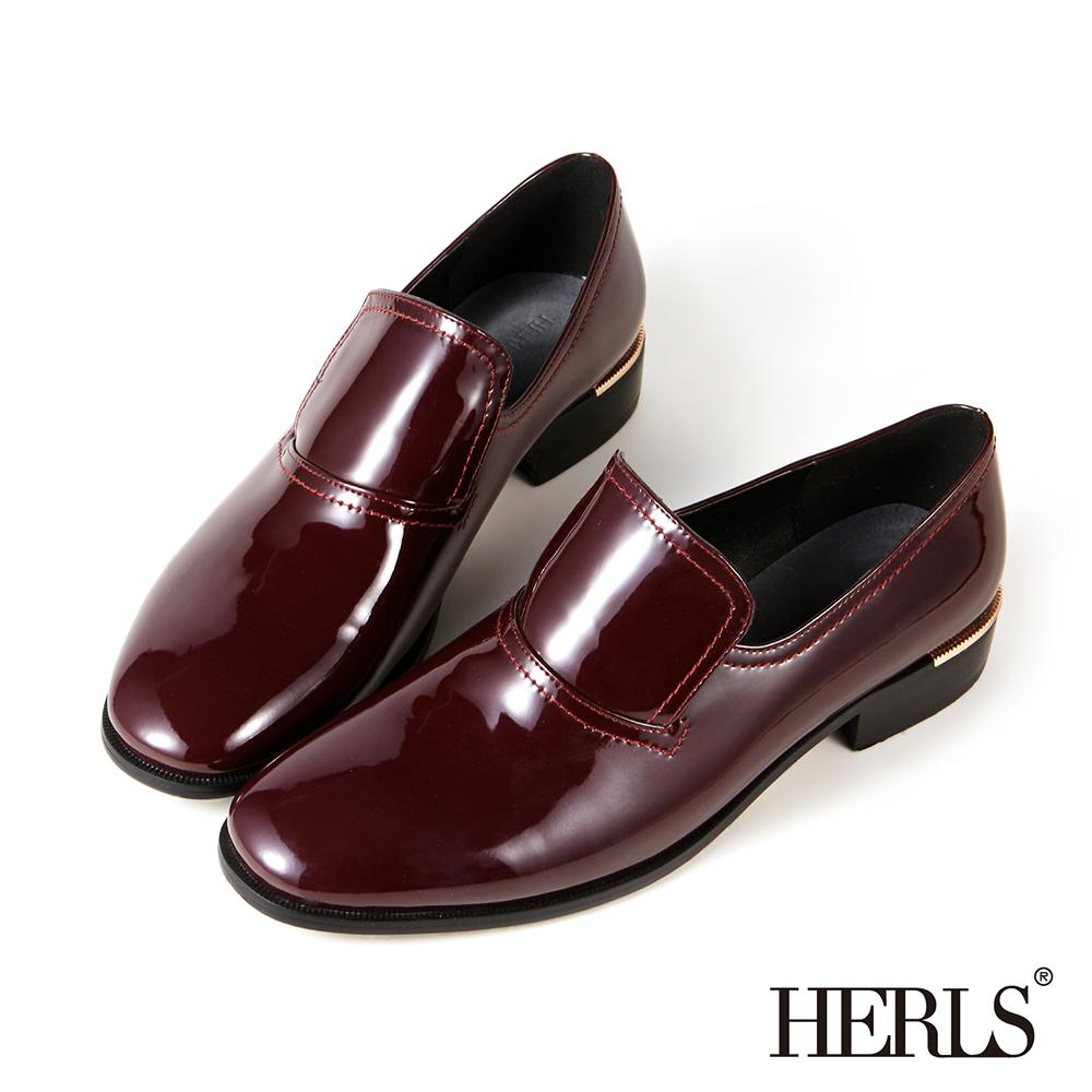 HERLS 內真皮個性漆皮樂福鞋-酒紅