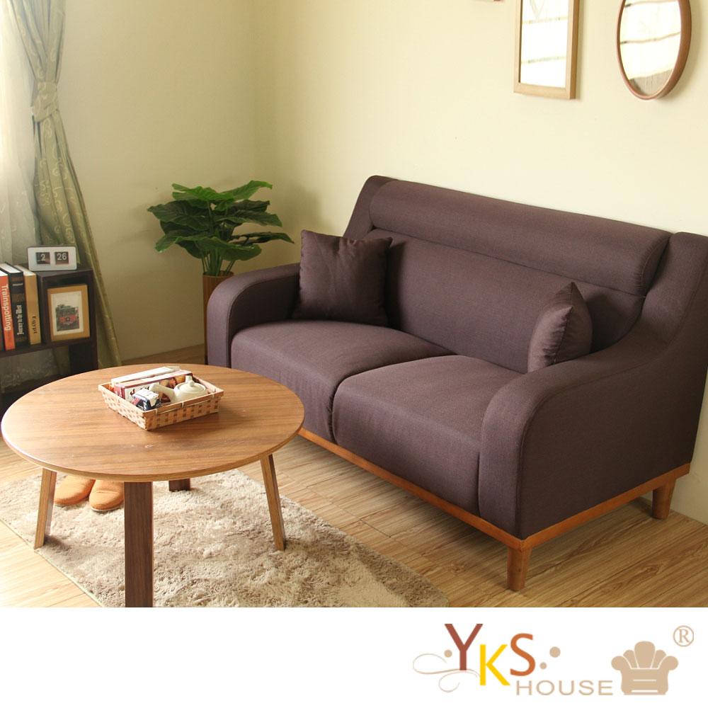 YKSHOUSE-名古屋雙人座獨立筒布沙發-兩色可選