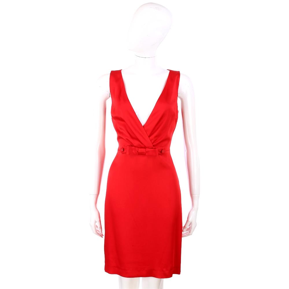 LOVE MOSCHINO 紅色深V設計蝴蝶結腰飾素面洋裝
