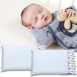 ClevaMama 防扁頭嬰兒枕-專用枕套2入(藍色小車)