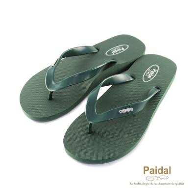 Paidal 男款簡單生活夾腳拖海灘拖人字拖鞋-綠