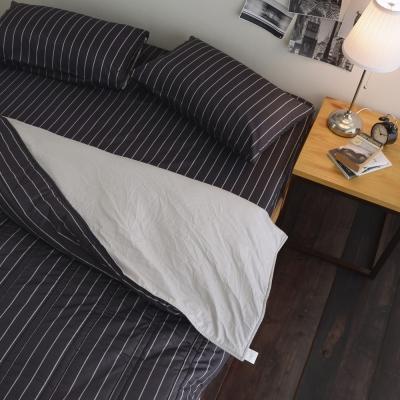 絲薇諾 207織精梳棉-換日線-黑色 兩用被套床包組(雙人加大)