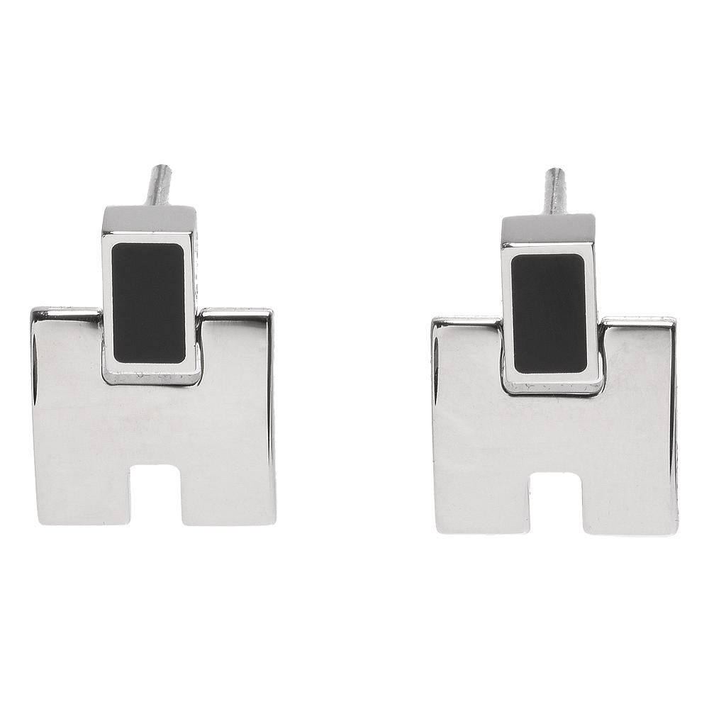 HERMES 經典Eileen系列弧面寬H LOGO琺瑯針式耳環(黑X銀)