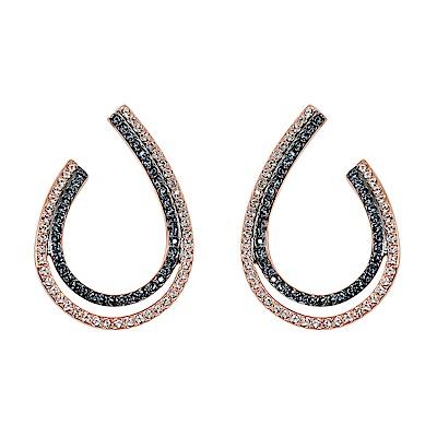 SWAROVSKI 施華洛世奇 藍色透亮雙色水晶玫瑰金水滴造型大耳環