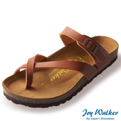 Joy Walker 素面交叉帶夾腳涼鞋* 駝色