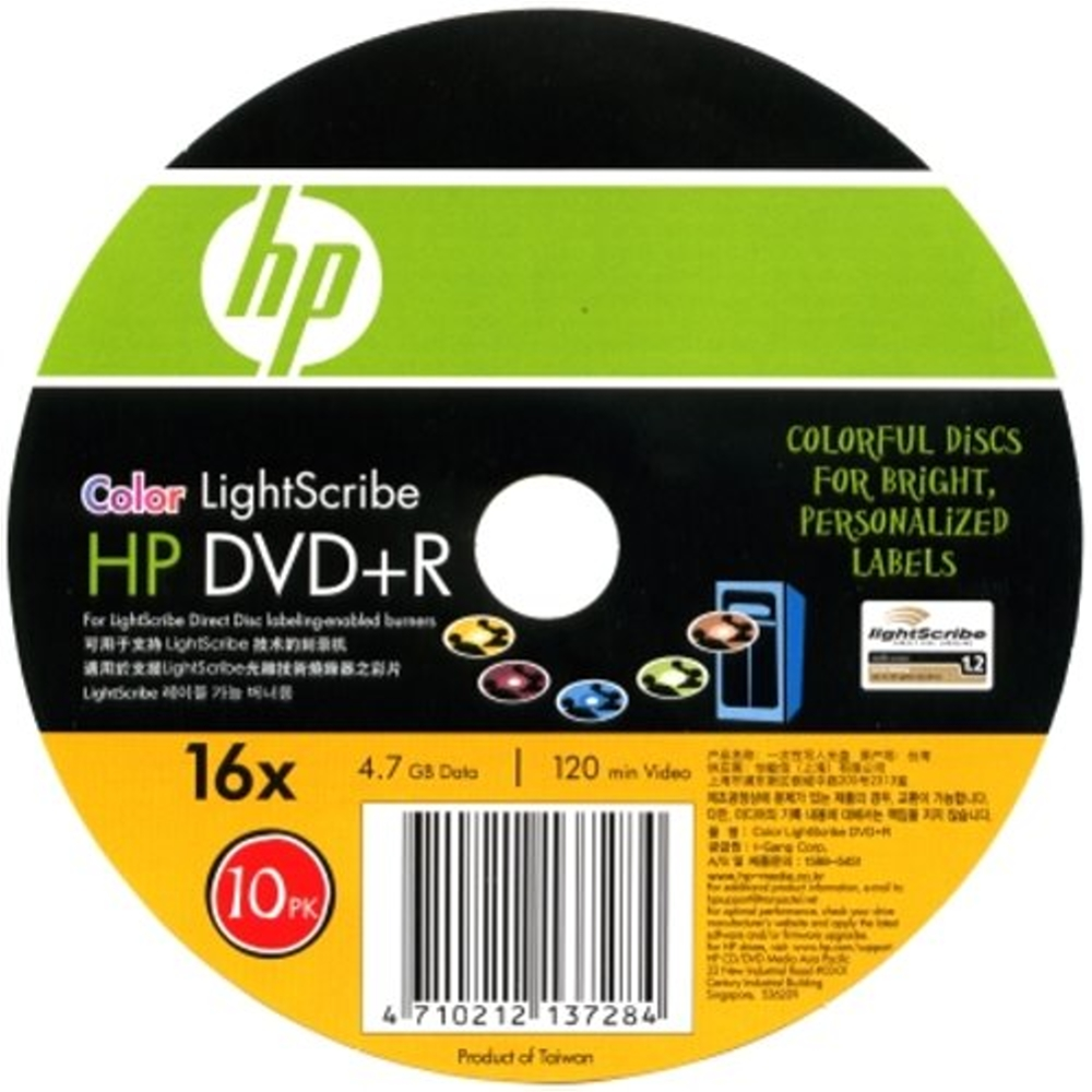 HP 5彩光雕LightScribeDVD+R 16X燒錄片(50片)