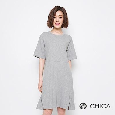 CHICA 無印日常俏皮剪裁五分袖休閒洋裝(3色)