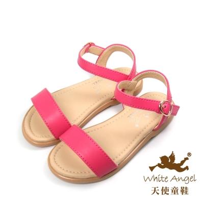 天使童鞋-D415 簡約一字涼鞋 (中-大童)-俏麗桃