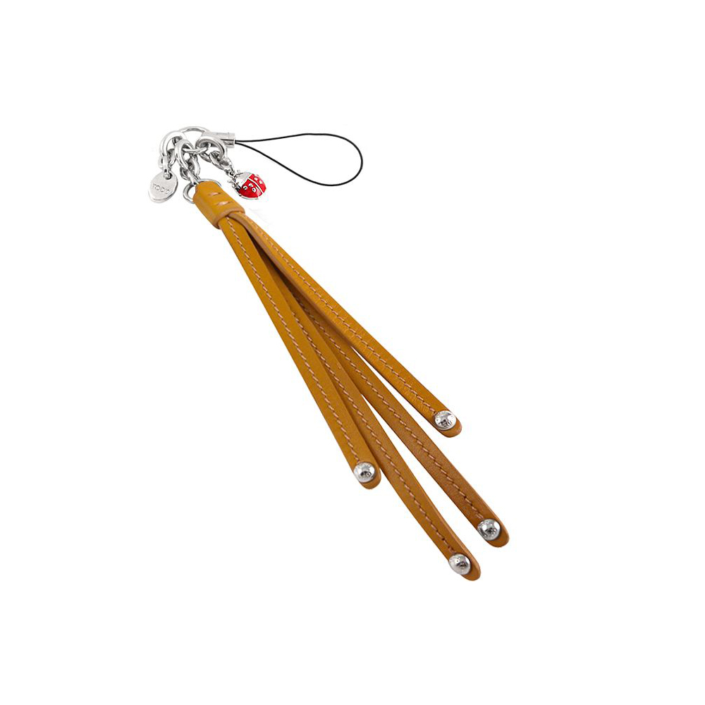 TODS 駝色小瓢蟲真皮鉚釘長型流蘇手機吊飾
