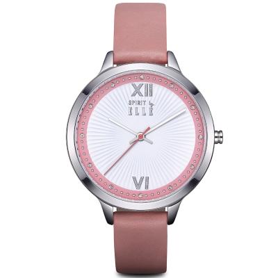 ELLE  柔美晶鑽羅馬時標皮革腕錶-銀/粉紅-38mm