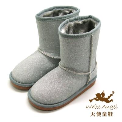 天使童鞋-B326N 微閃冰晶暖暖靴 (中-大童)-雪花銀