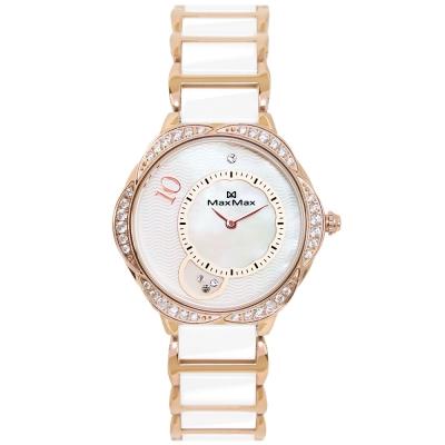 Max Max 極限華麗花環時尚陶瓷腕錶-玫瑰金X白/34mm