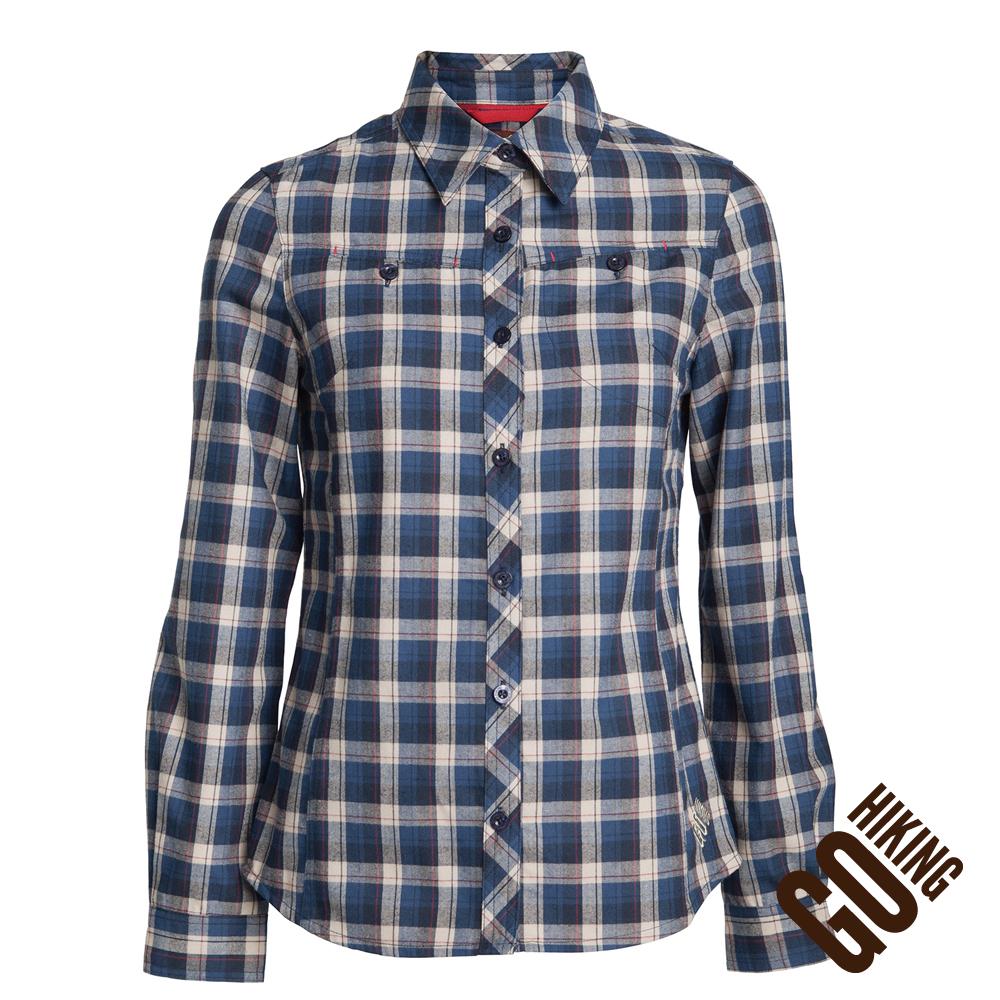 【GoHiking】女長袖吸排格子保暖襯衫-深藍