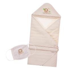 小獅王辛巴 大地系有機棉防護時刻居家二件組(包巾+口罩)