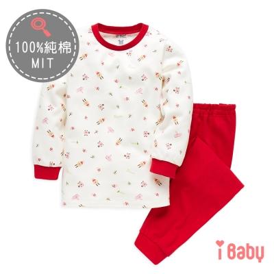 麗嬰房 ibaby 可愛小兔舒棉長袖家居服套裝 紅色