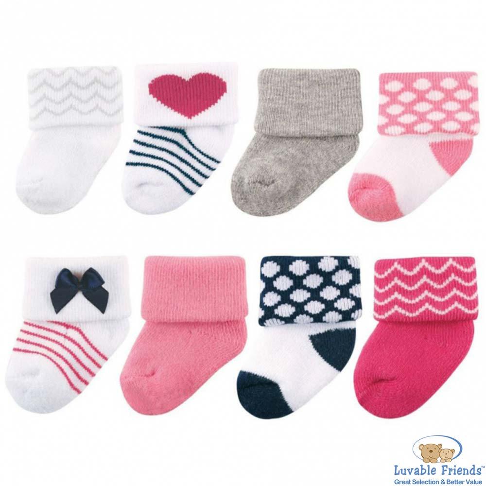 Luvable Friends 桃紅深藍愛心嬰兒襪8雙入組