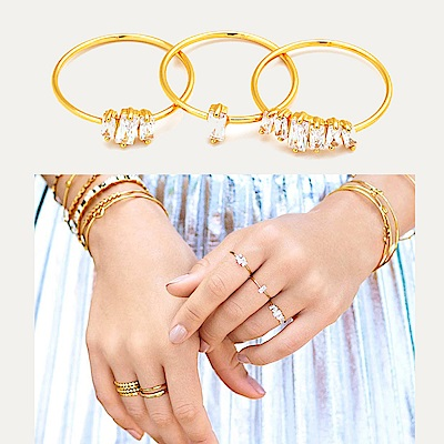 GORJANA 公主切割 方鑽戒指 金色三環戒 Amara Ring